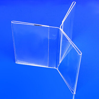 Table top acrylic frame with 3 sections for displaying multiple advertisements, signs or pictures
