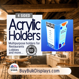 4 sided acrylic holders for restaurants lobbies and more
