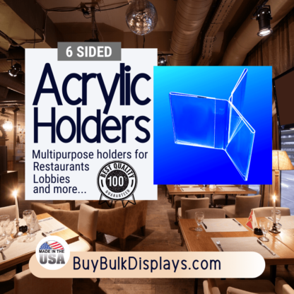 Acrylic holders for restaurants lobbies and more