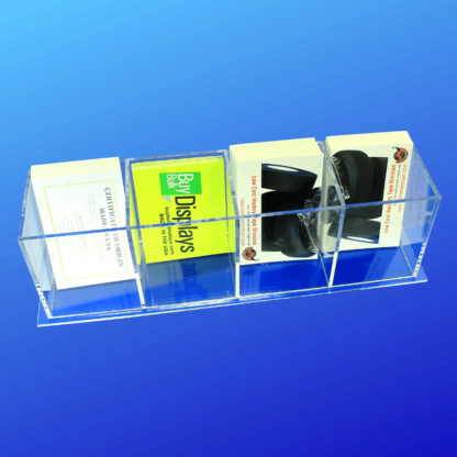 Acrylic literature holder with multiple pockets