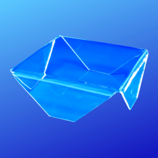 Clear acrylic display riser with flat corner folds for displaying items