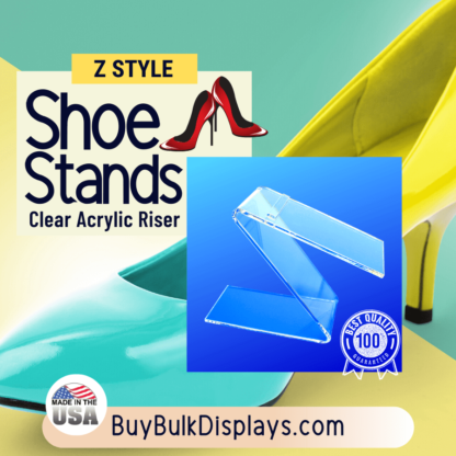 Clear acrylic Z style shoe riser for elevating shoes for display