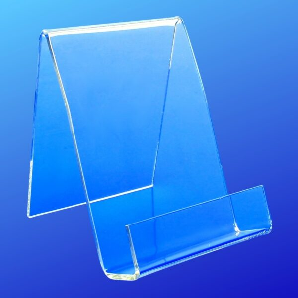 Easel style acrylic holder with a closed front for display