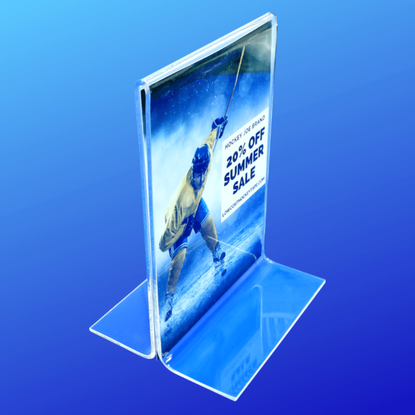 Double sided acrylic sign holder made from extra thick acrylic