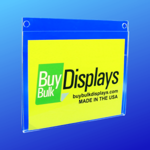 Acrylic sign holder with two mounting holes for attaching to a wall