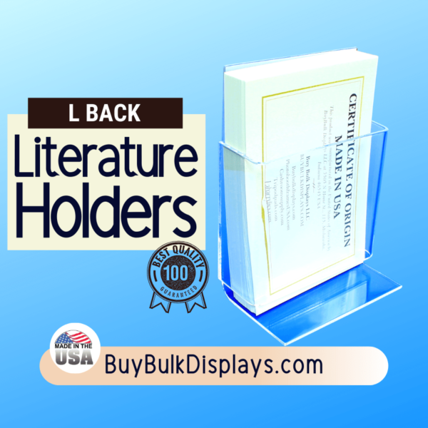 Literature holder compartment with an L back