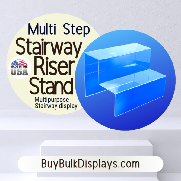 Multi step acrylic stairway display stands