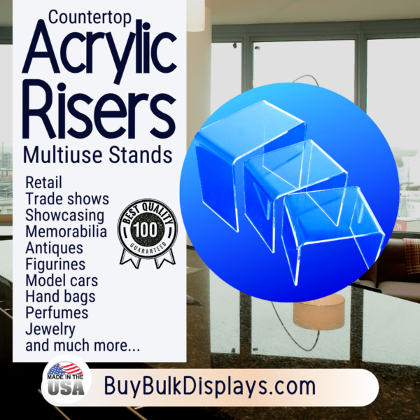 Multipurpose countertop acrylic risers for retail tradeshows showcasing figurines model cars hand bags perfumes jewelry and much more