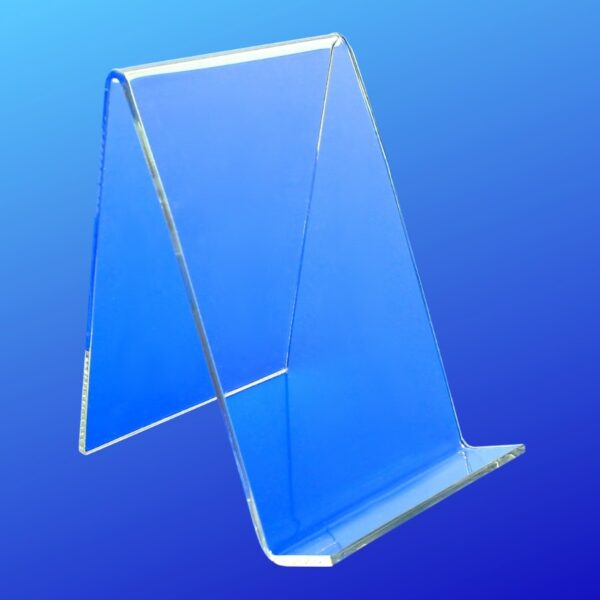 Easel made from acrylic with a open front lip for displaying items