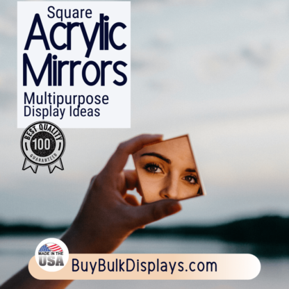 Square acrylic mirrors for displaying