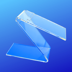 Shoe riser shaped like a Z and made out of acrylic