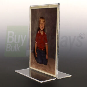 Thick T style acrylic frame for displaying two signs, photos or any type of insert back to back on a tabletop