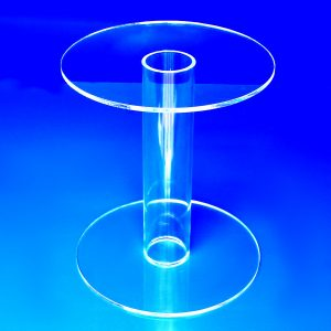 Round table style clear acrylic pedestal display risers