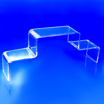 Acrylic riser bent with two steps for displaying products