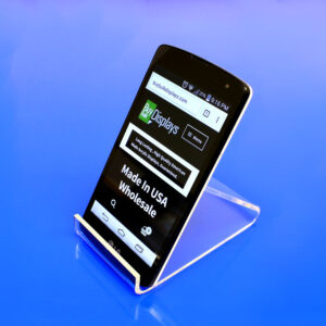 Acrylic smart phone easel style display with a closed bottom lip