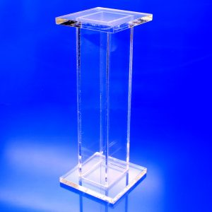 "Up to 30"" tall acrylic square stand alone pedestal display in clear, black, white"