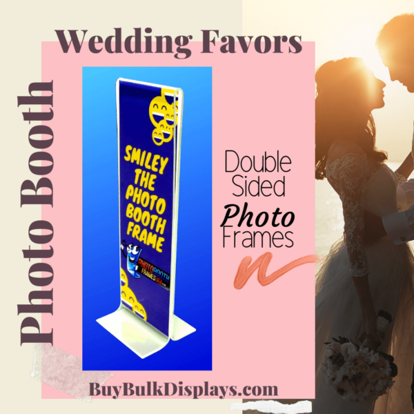 Double sided acrylic frames for photo booth wedding favors