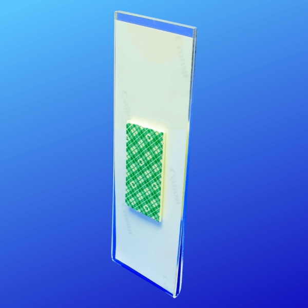 Back side of acrylic photo booth frame with double-sided tape for displaying on walls