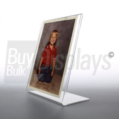 Acrylic table top, slanted sign holders for pictures and advertisements in multiple sizes