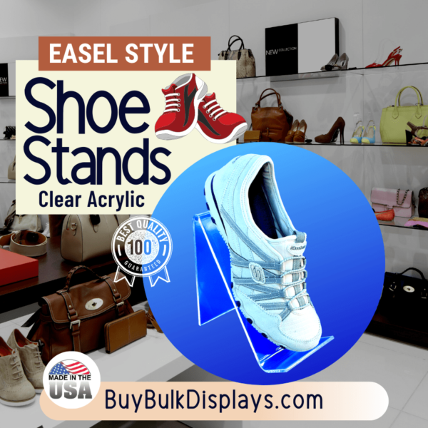 Easel style acrylic shoe stand riser