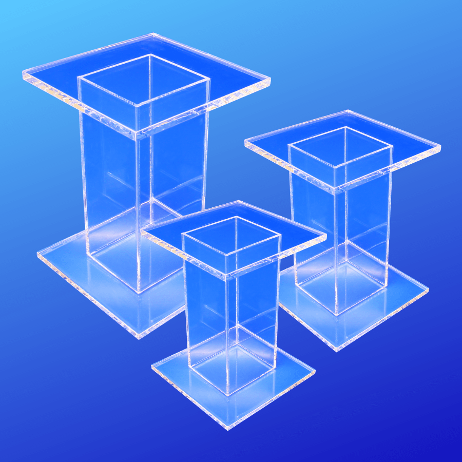 Pedestal sets made from acrylic for tier displaying