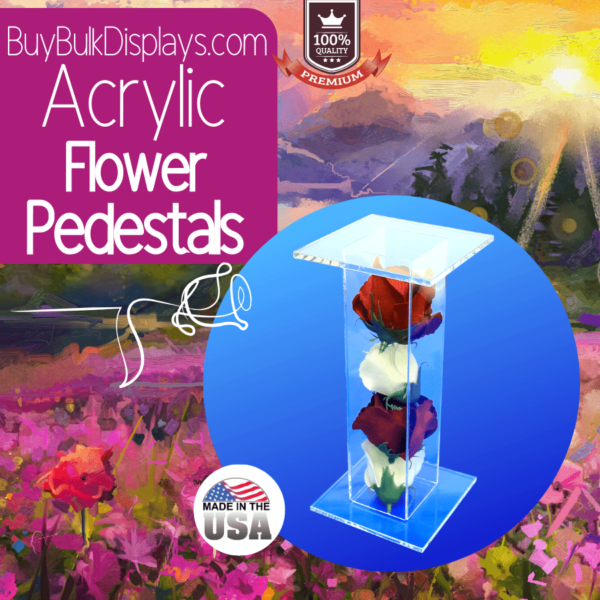 Acrylic flower filled pedestal stands