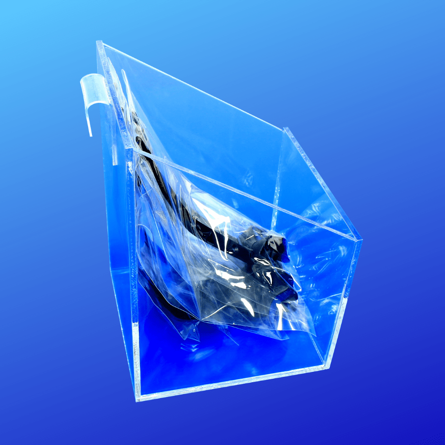 acrylic slanted top bin with a gridwall attachment