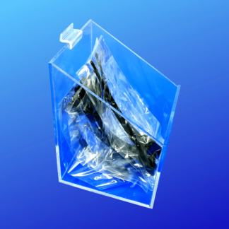 Open top acrylic bin with a slanted top for slatwalls