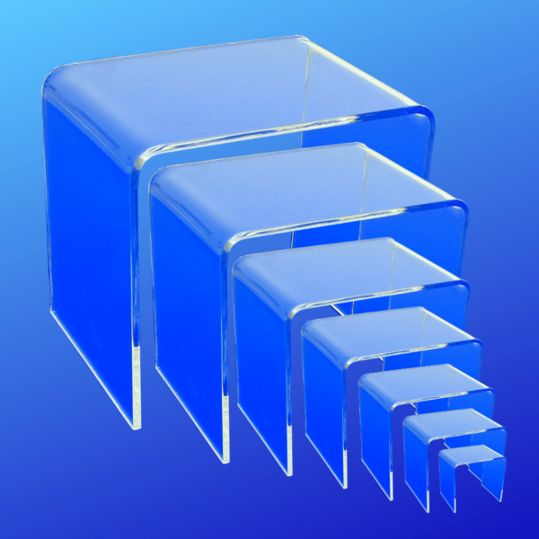 Complete set of acrylic risers, 2x2x2 up to 8x8x8 square acrylic risers