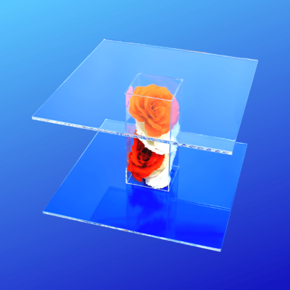 Acrylic pedestal display stand with flowers