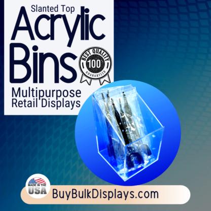 Multipurpose slanted top acrylic bin box for retail displaying