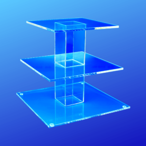 Clear acrylic cake stand with 3 tiers
