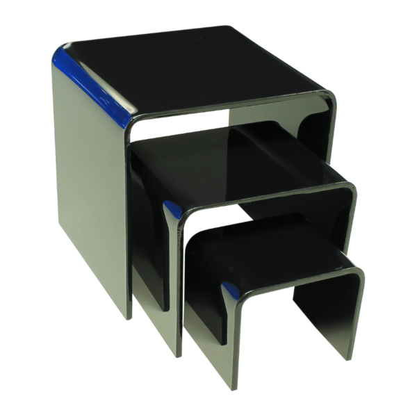 Black acrylic display risers in various sizes