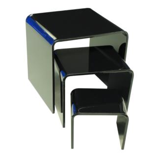 Acrylic risers made from black acrylic