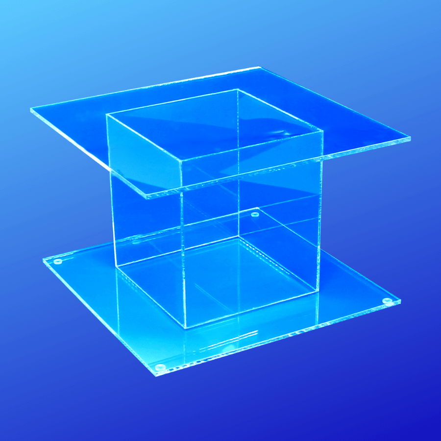 Cake stand made from clear acrylic with a square top and bottom