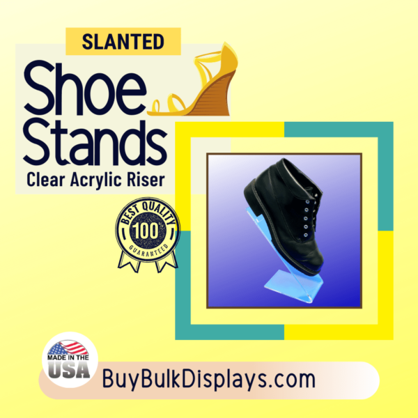 Clear acrylic slanted shoe riser display stand