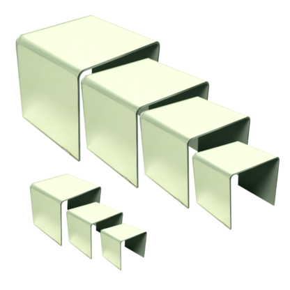Complete set of square mirror acrylic risers from 2 inches to 8 inches