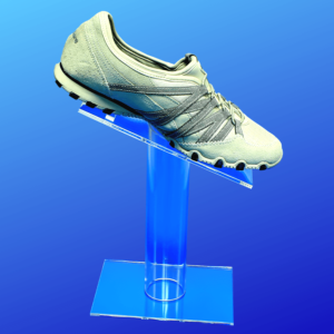 """Deluxe shoe display made from 3/16"""" acrylic in 3 heights"""
