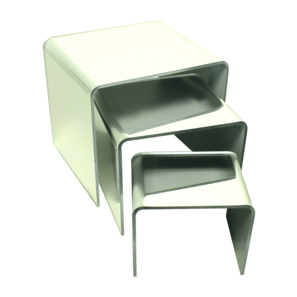 acrylic risers made from mirror acrylic for displaying items