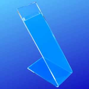 Slanted shoe riser display made from 3/16 inch prime grade acrylic