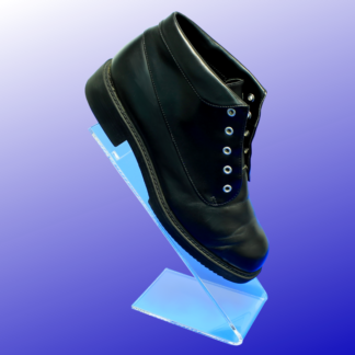 Acrylic shoe display with a slant back angle for display shoes
