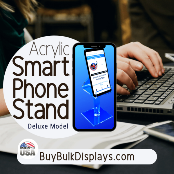 Tall universal smartphone holder stand for desktops, offices and retail stores
