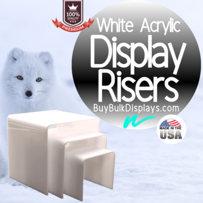 White acrylic display riser stands