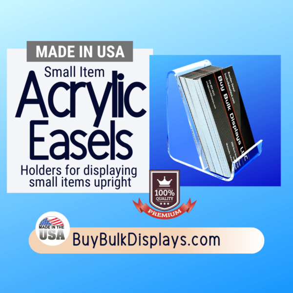 Acrylic easel stands for displaying small items upright