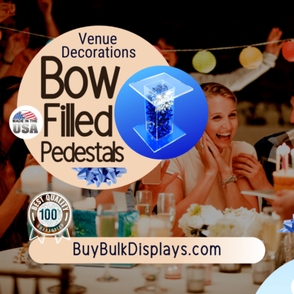 Bow filled pedestal display stands for venue decorations