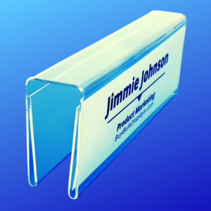 Clear acrylic cubicle name tag holder double sided