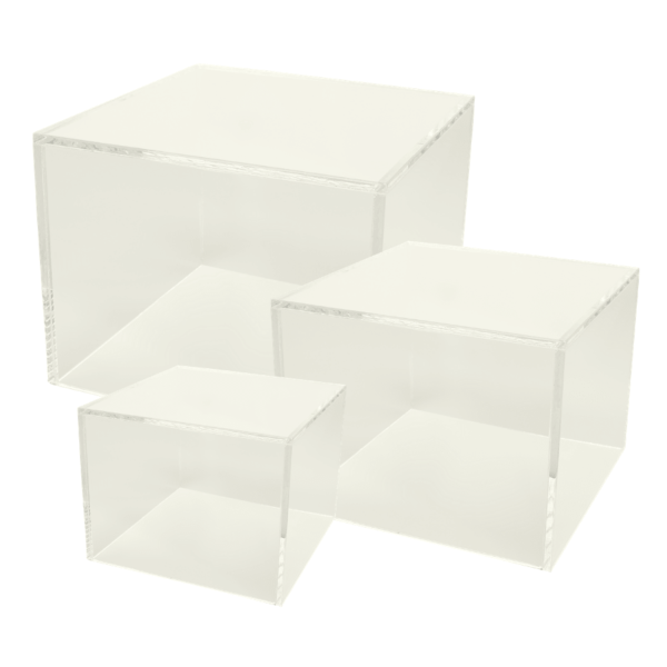 Set of 3 clear acrylic cube risers